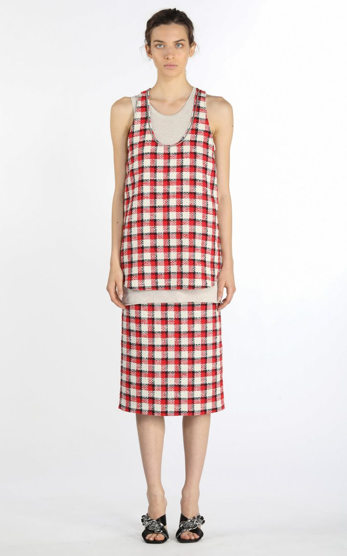 Fringed Checked Cotton Tweed Midi Skirt