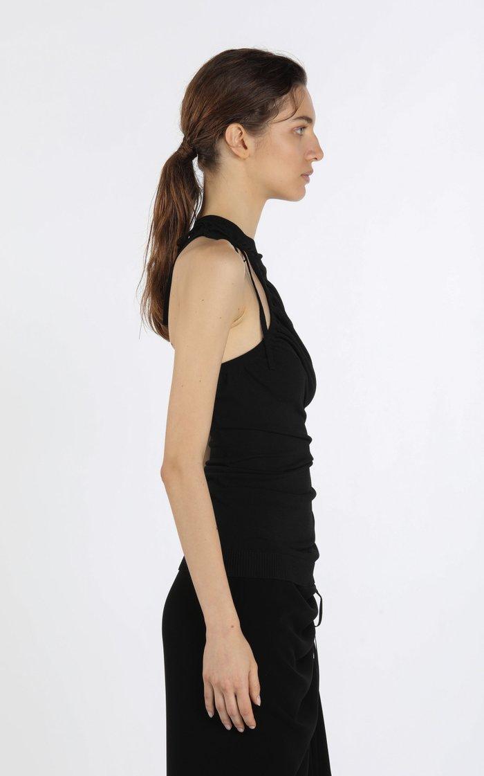 Tie-Detailed Asymmetric Knit Top