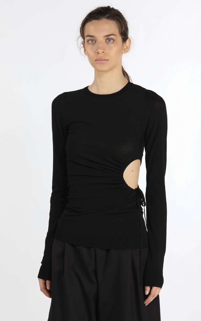 Tie-Detailed Cutout Knit Top