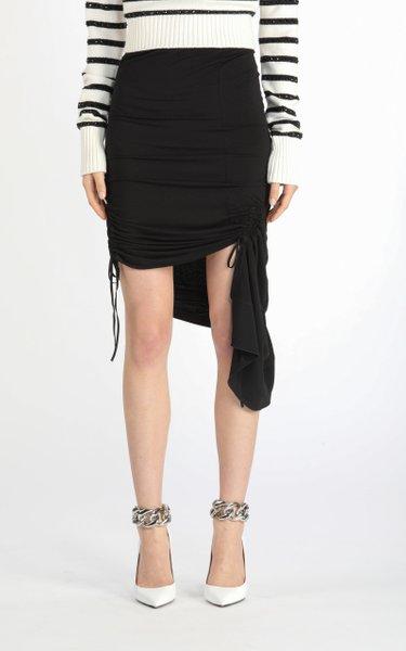 Asymmetric Ruched Jersey Mini Skirt