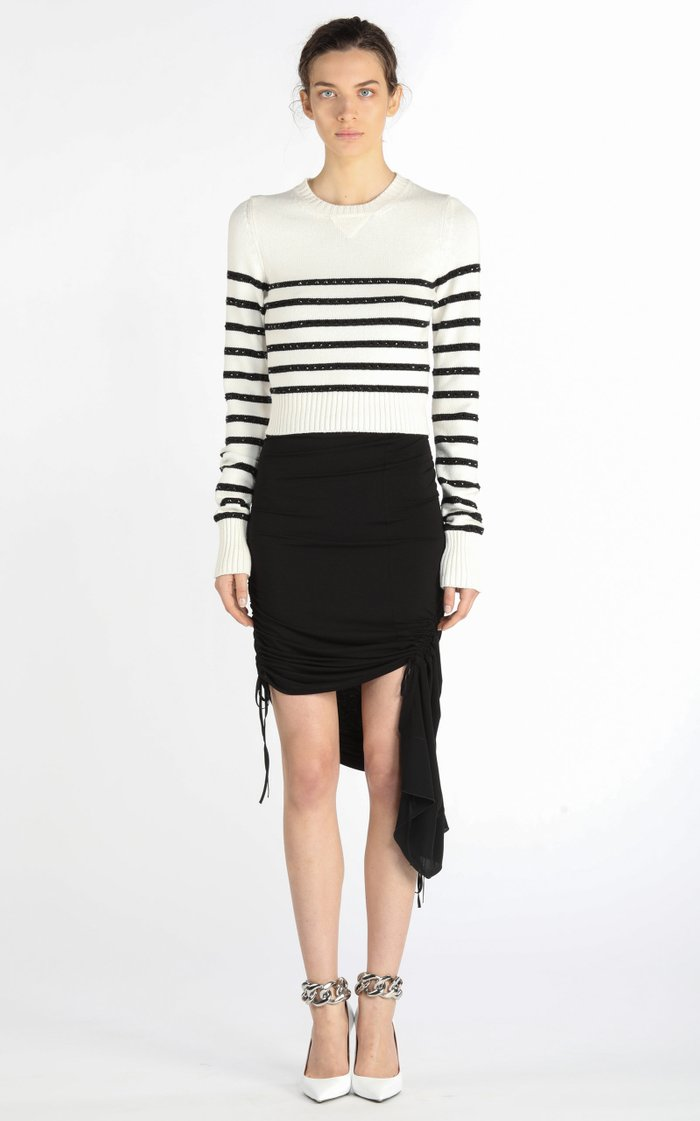 Asymmetric Ruched Jersey Mini Skirt