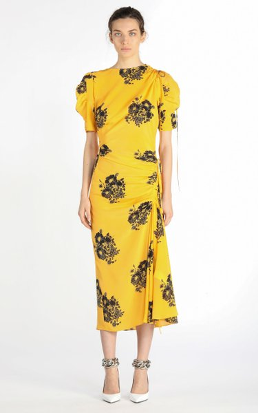 Tie-Detailed Ruched Floral Silk Midi Dress