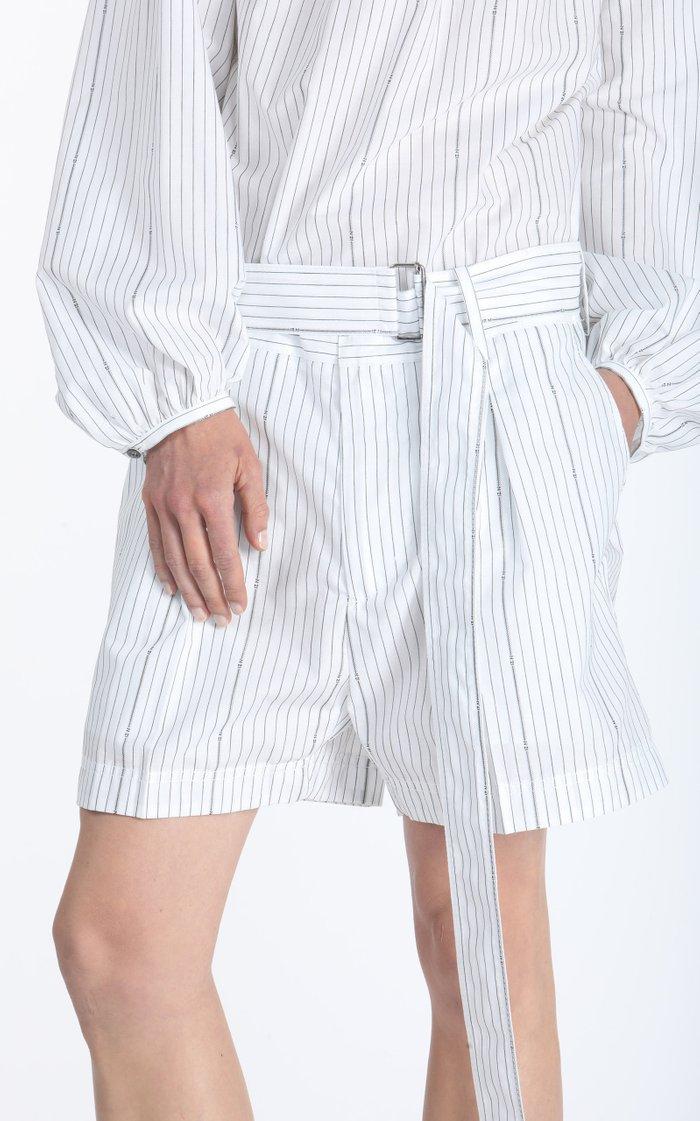 Belted Oversized Pleated Striped Poplin Shorts