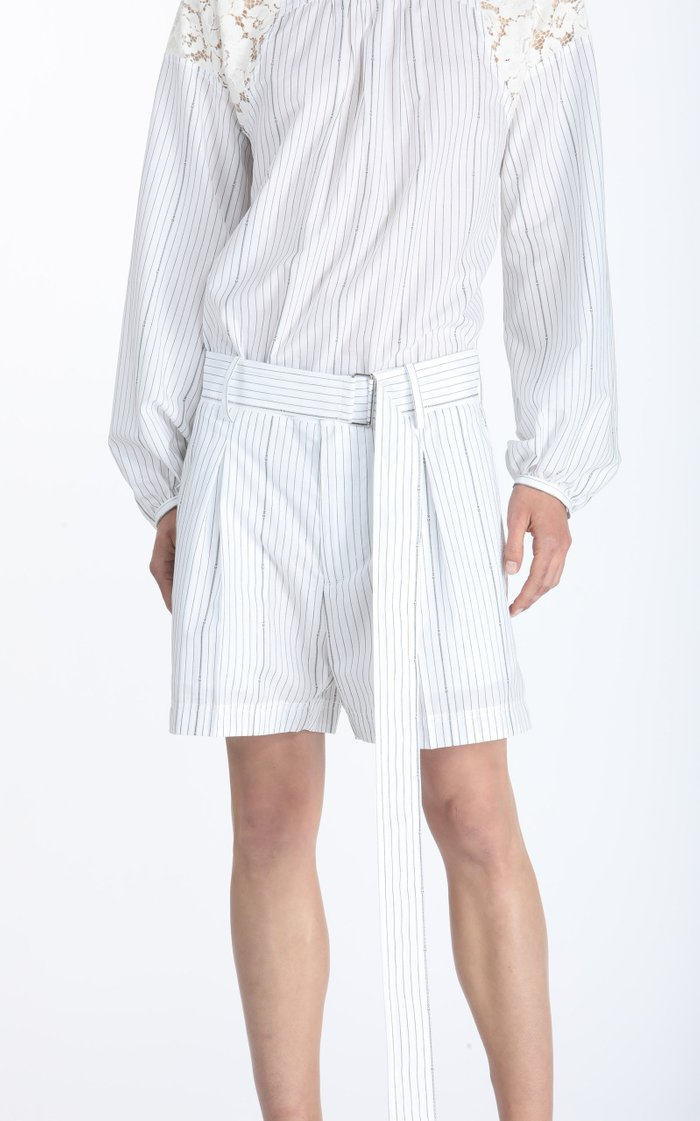 Belted Oversized Pleated Striped Poplin Shorts