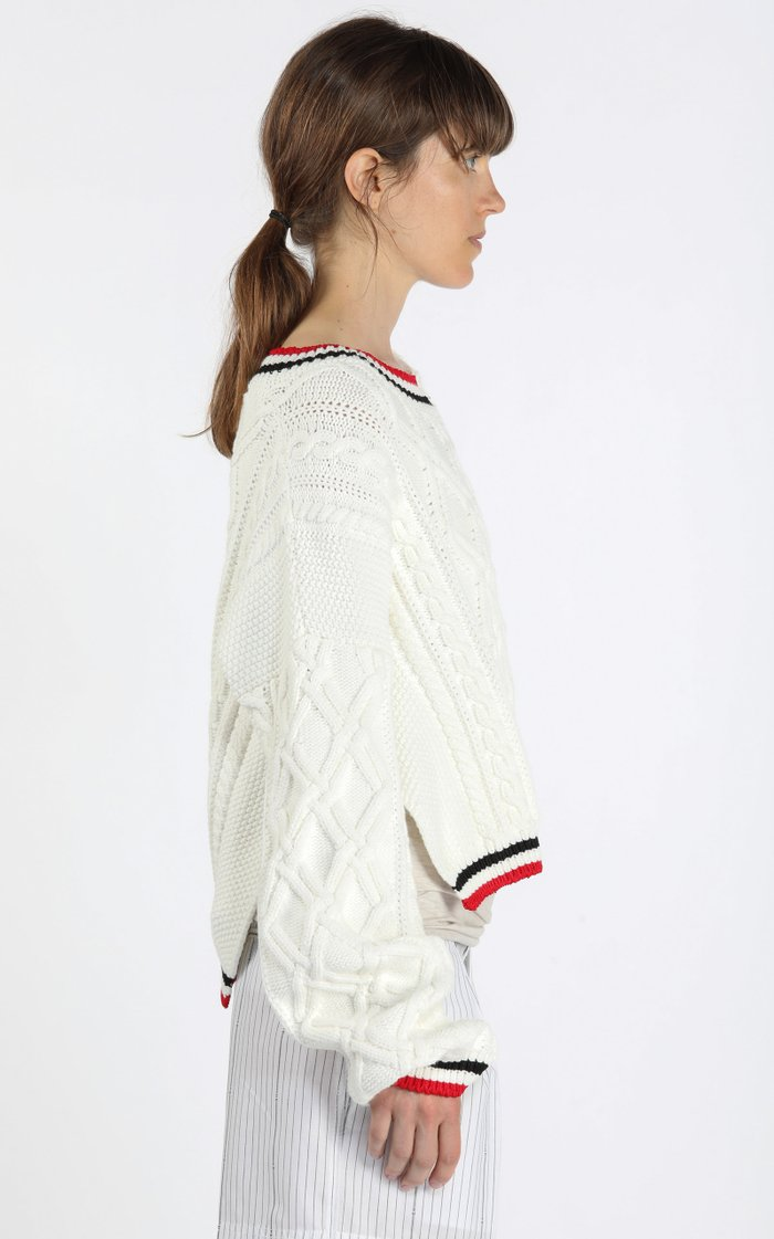 Deconstructed Stripe-Trimmed Cable-Knit Sweater