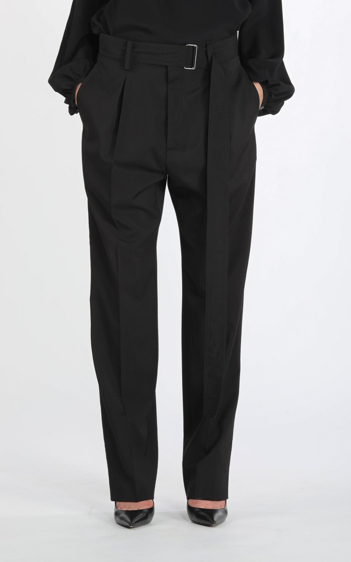 Belted Oversized Pleated Wool Straight-Leg Trousers