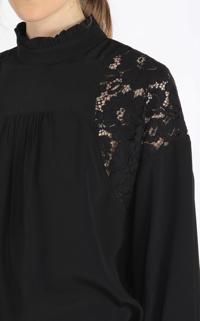 Oversized Lace-Inset Georgette Top