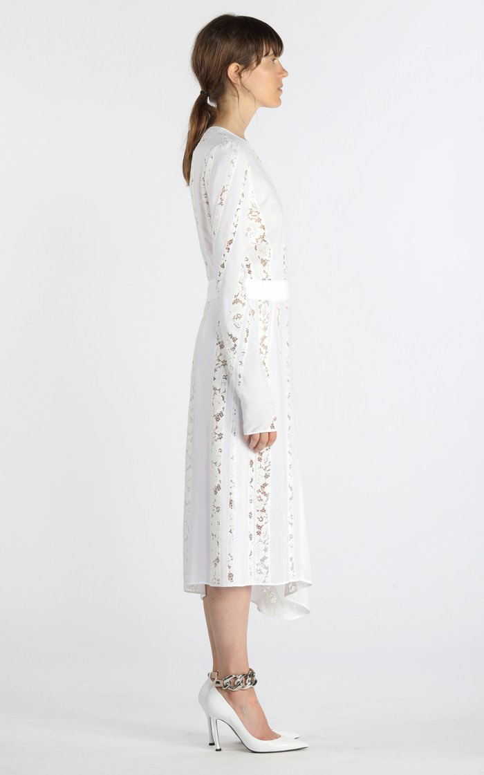 Asymmetric Lace-Inset Silk Midi Dress