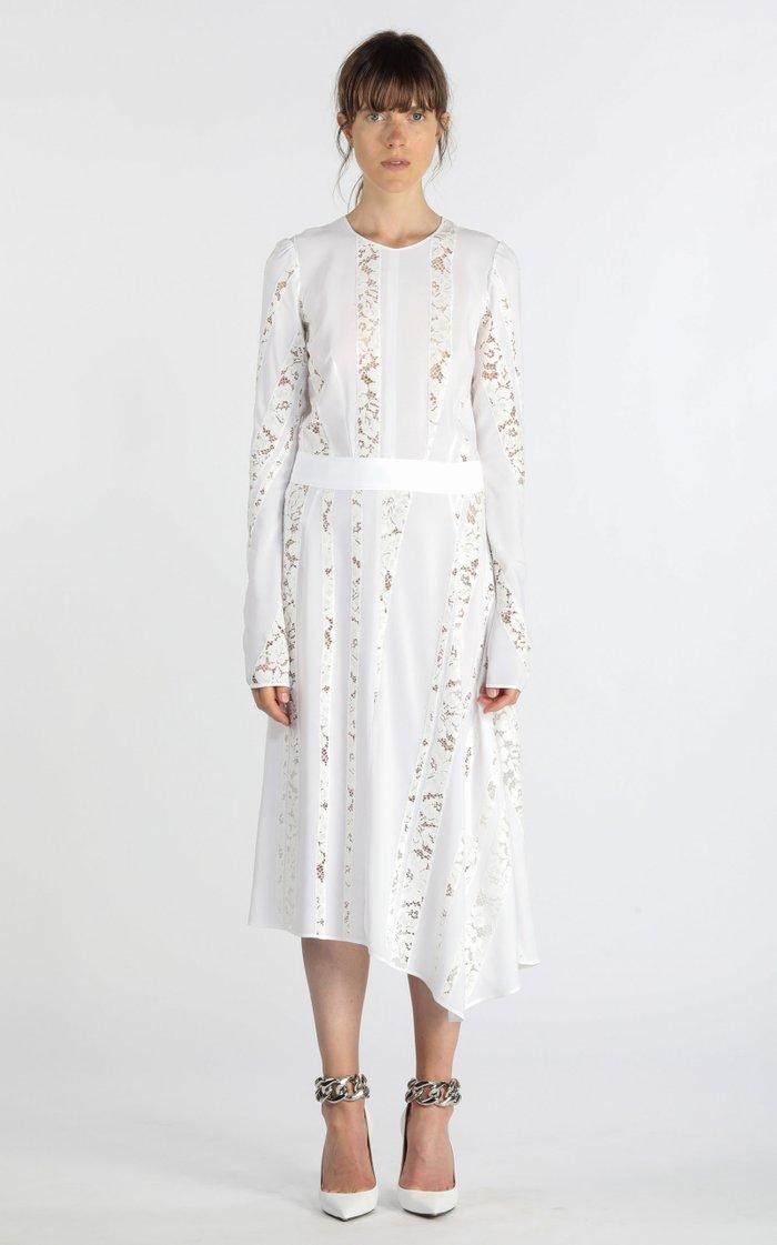 Asymmetric Lace-Inset Silk Midi Dress
