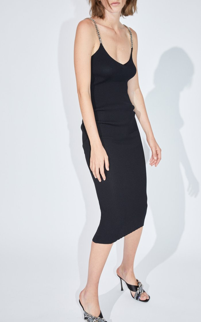 Chain-Detailed Ribbed-Knit Midi Dress