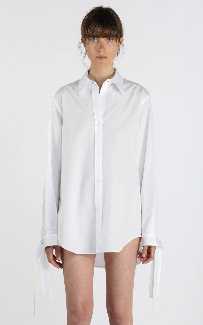 Tie-Cuff Cotton Poplin Shirt