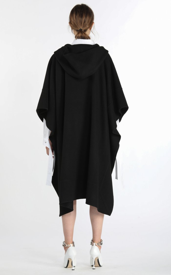 Chain-Detailed Wool-Blend Hooded Poncho Coat