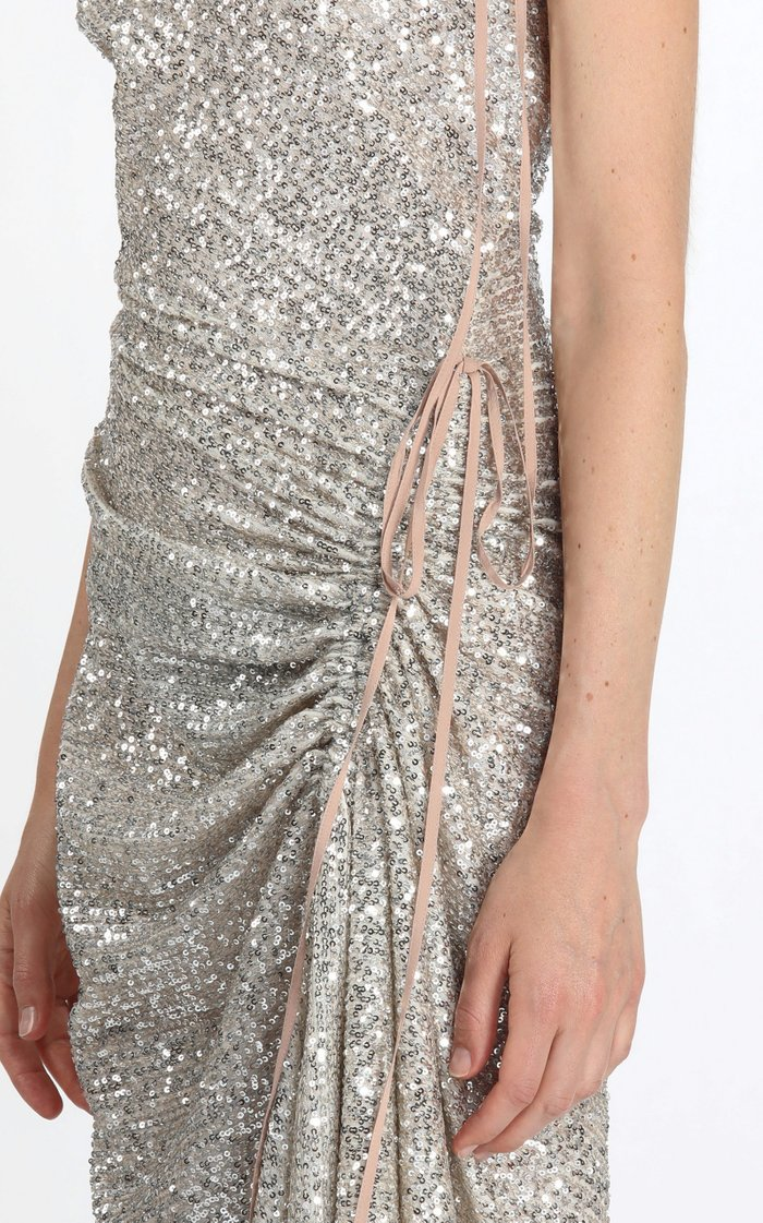 Tie-Detailed Ruched Sequined Midi Dress