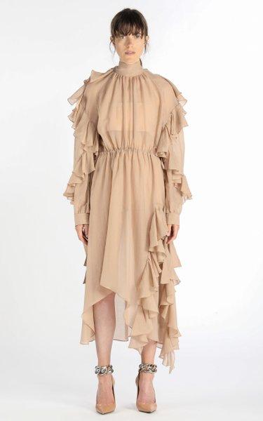 Ruffled Cotton-Silk Voile Midi Dress