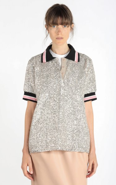 Stripe-Trimmed Sequined Polo Shirt
