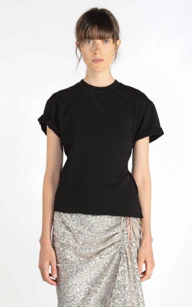 Asymmetric Chain-Detailed Open-Back Cotton Sweatshirt