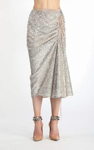 Tie-Detailed Ruched Sequined Midi Skirt