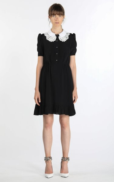 Lace-Trimmed Pleated Georgette Mini Dress