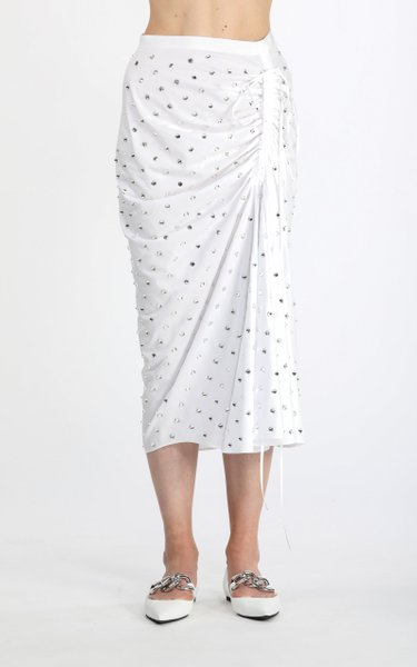 Ruched Crystal-Embellished Cotton Midi Skirt