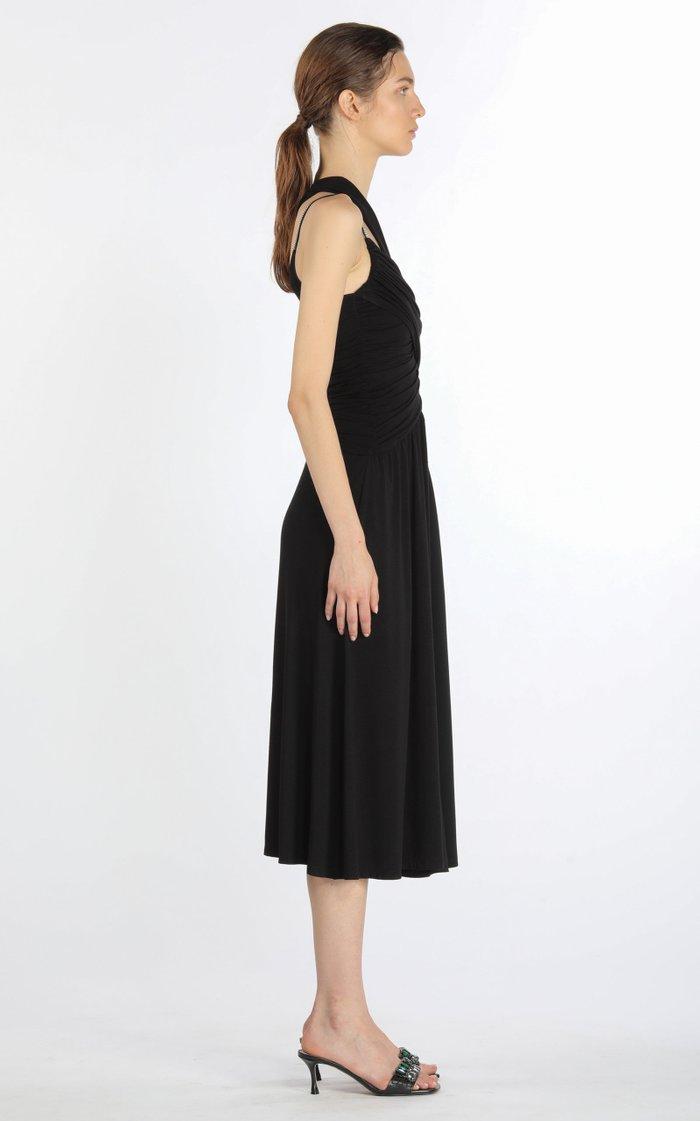 Asymmetric Chain-Detailed Draped Jersey Midi Dress