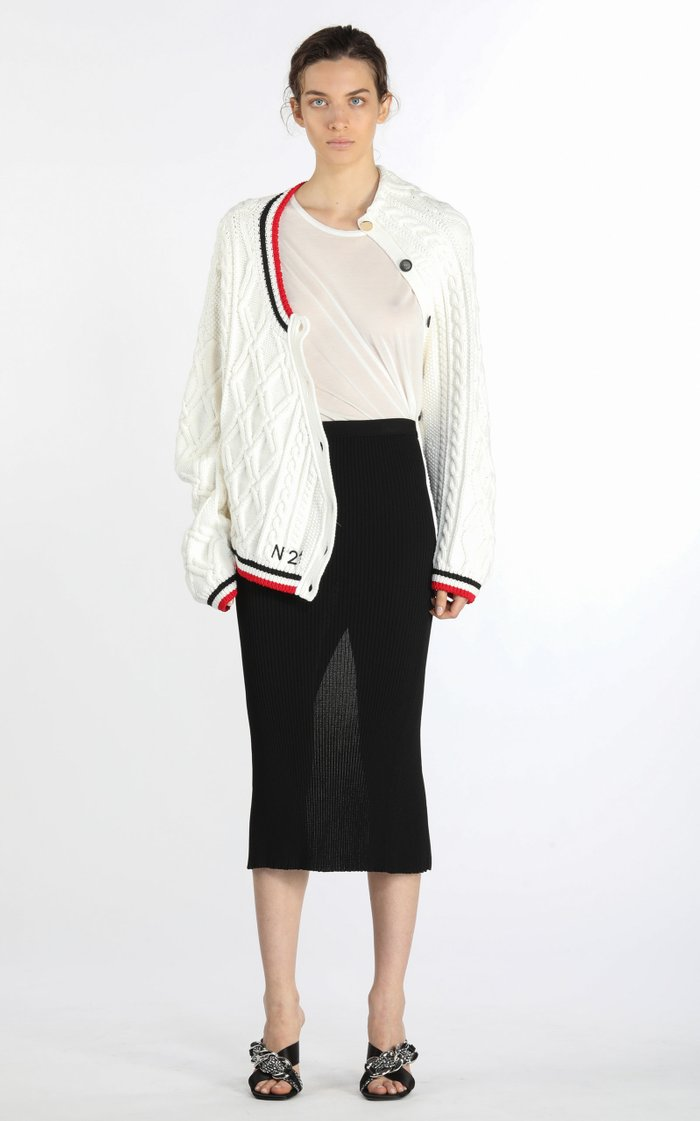 Deconstructed Stripe-Trimmed Cable-Knit Cardigan