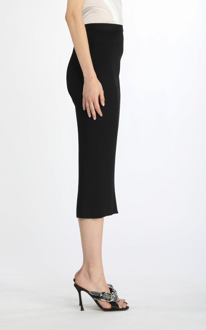 Vented Ribbed-Knit Midi Skirt