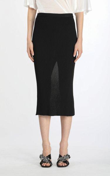 Vented Ribbed-Knit Midi Skirt