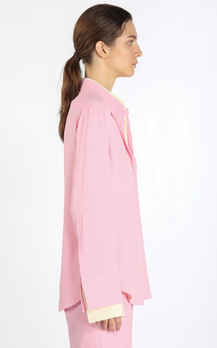 Oversized Layered Two-Tone Crepe Shirt