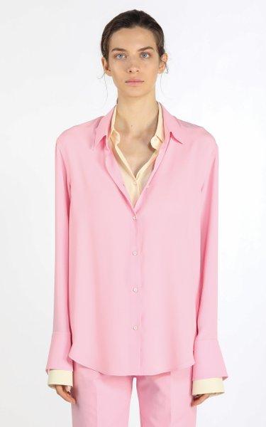 Oversized Layered Two-Tone Crepe Shirt