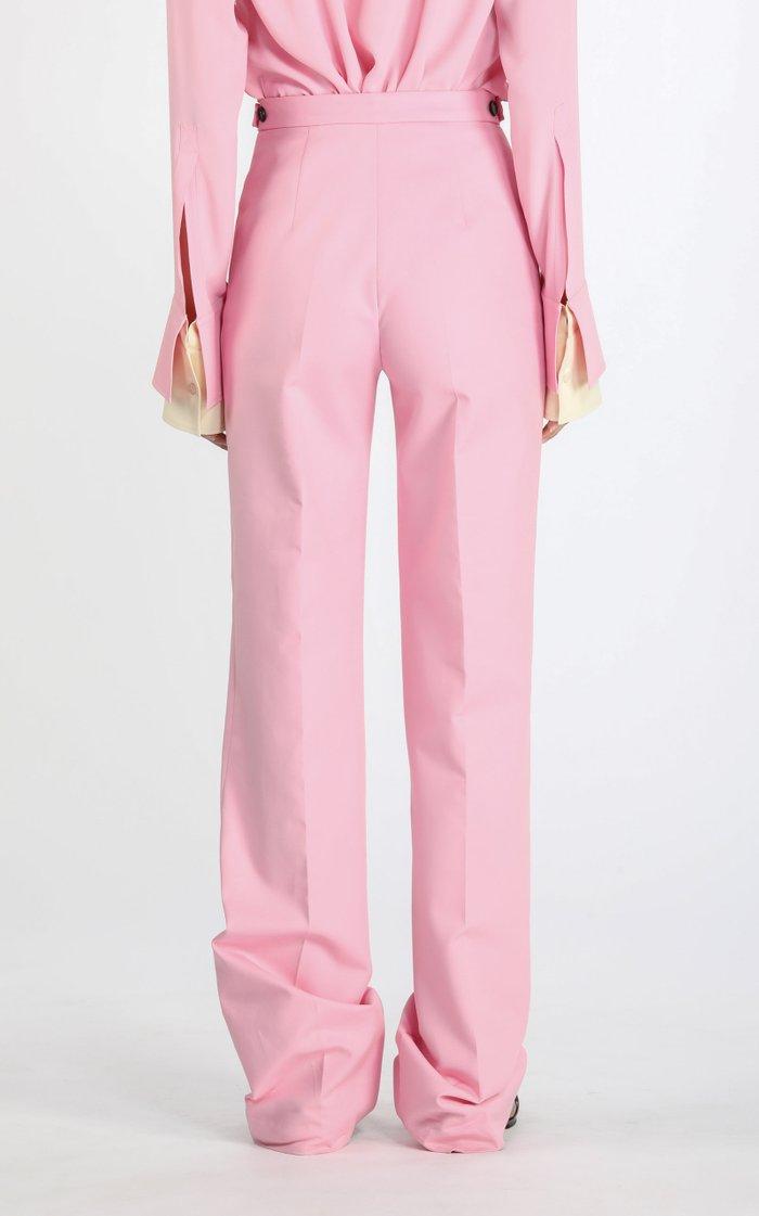 Backwards Cotton Straight-Leg Pants