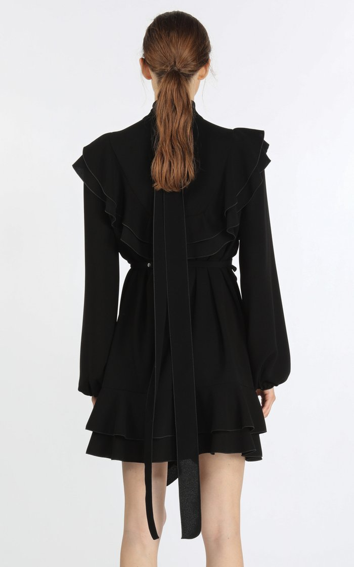 Belted Ruffle-Trimmed Crepe Tie-Neck Mini Dress
