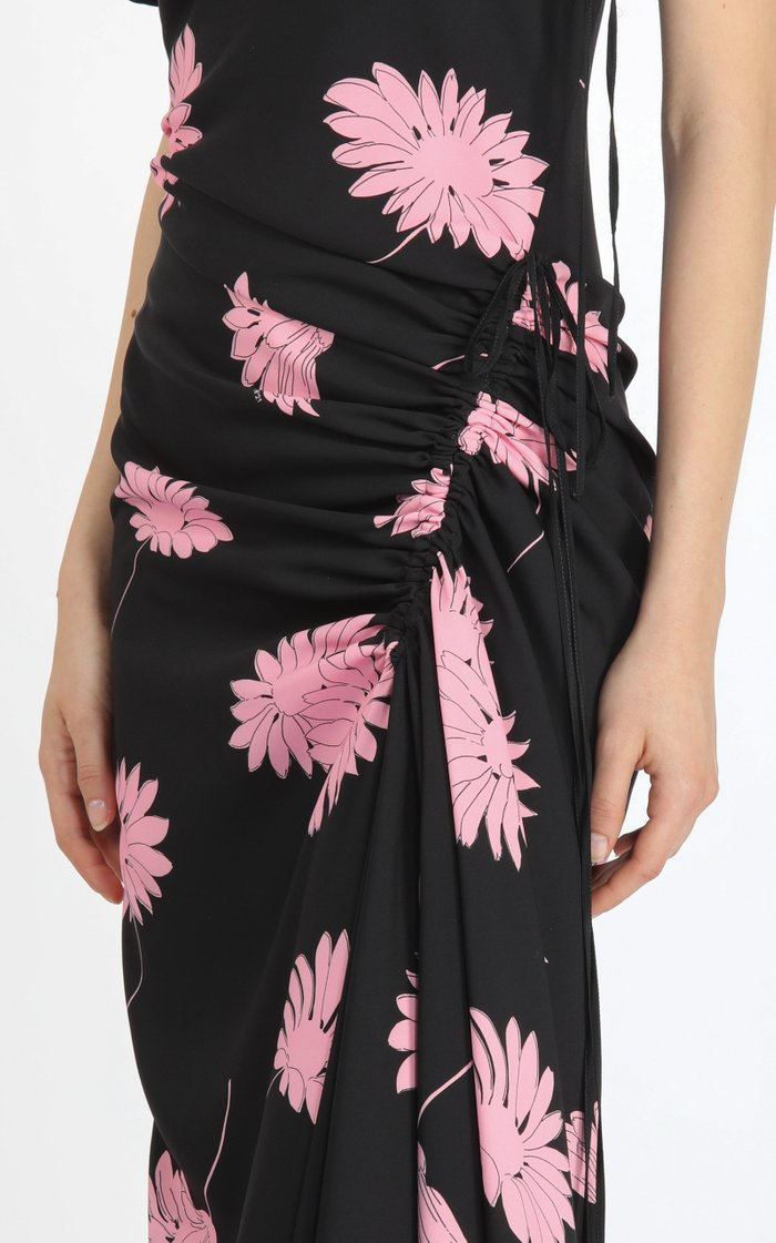 Tie-Detailed Ruched Floral Crepe Midi Dress
