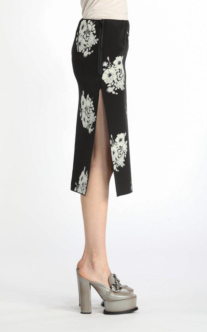 Vented Floral Silk-Blend Midi Skirt