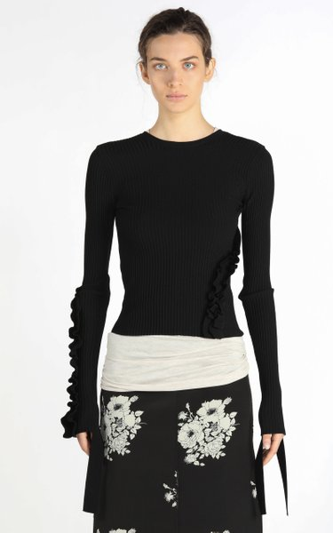Tie-Cuff Ruffled Ribbed-Knit Open-Back Top