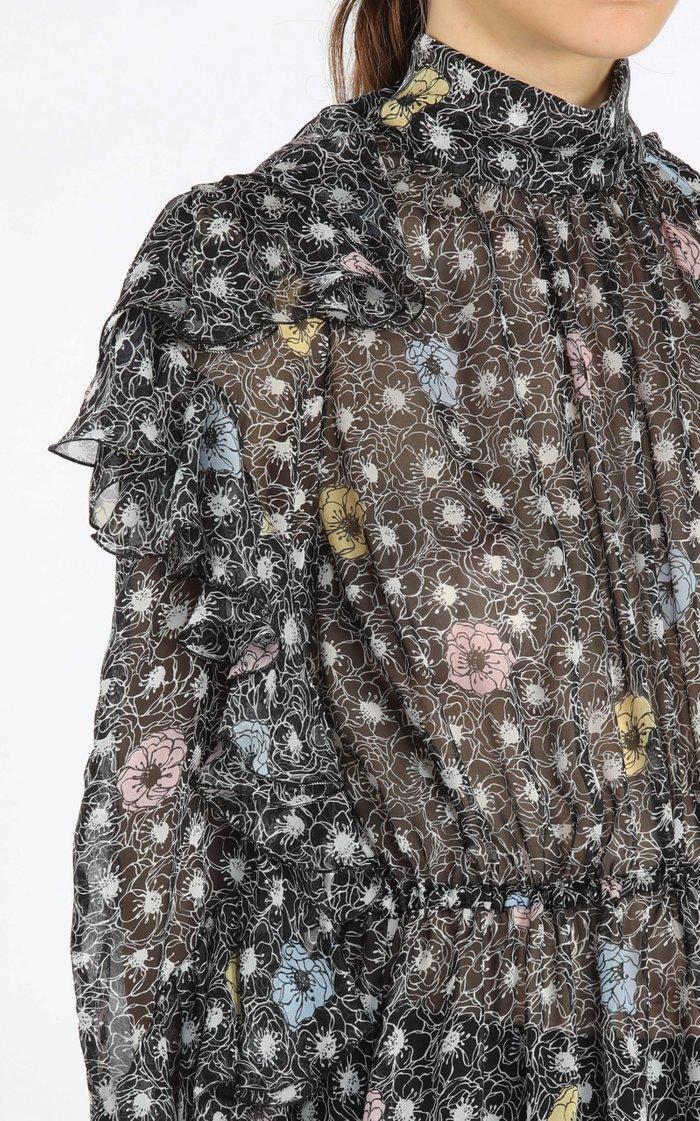 Asymmetric Ruffled Printed Silk Georgette Midi Dress