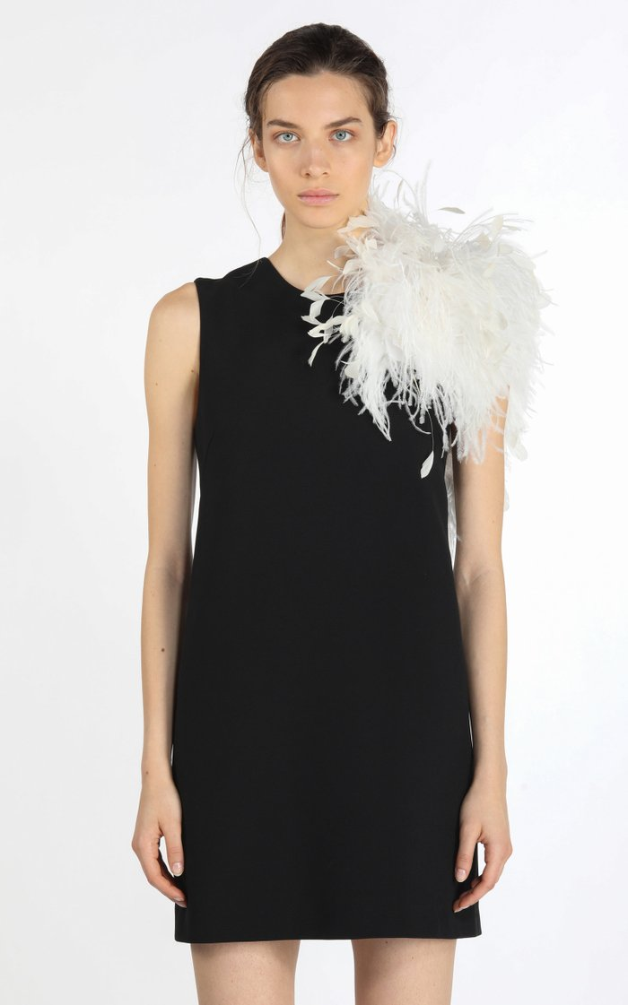 Feather-Trimmed Crepe Mini Shift Dress