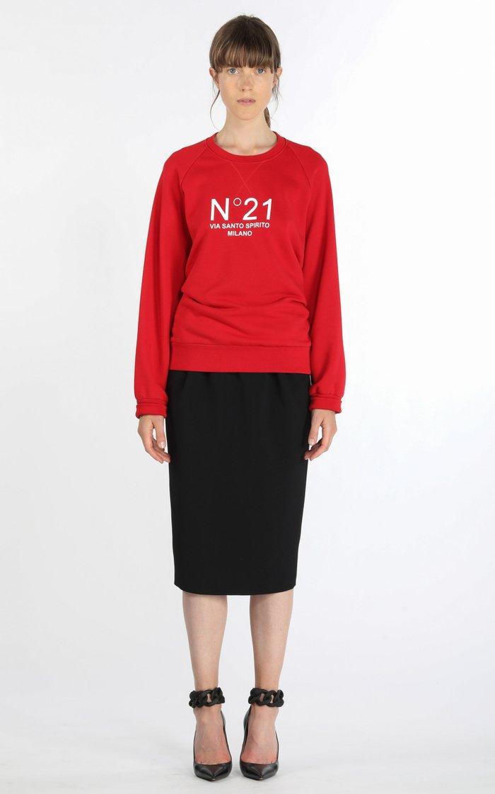 Chain-Detailed Pleated Crepe High-Rise Midi Skirt