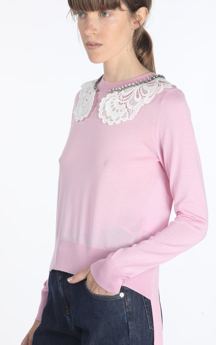 Lace And Chain-Detailed Cutout Wool-Blend Sweater