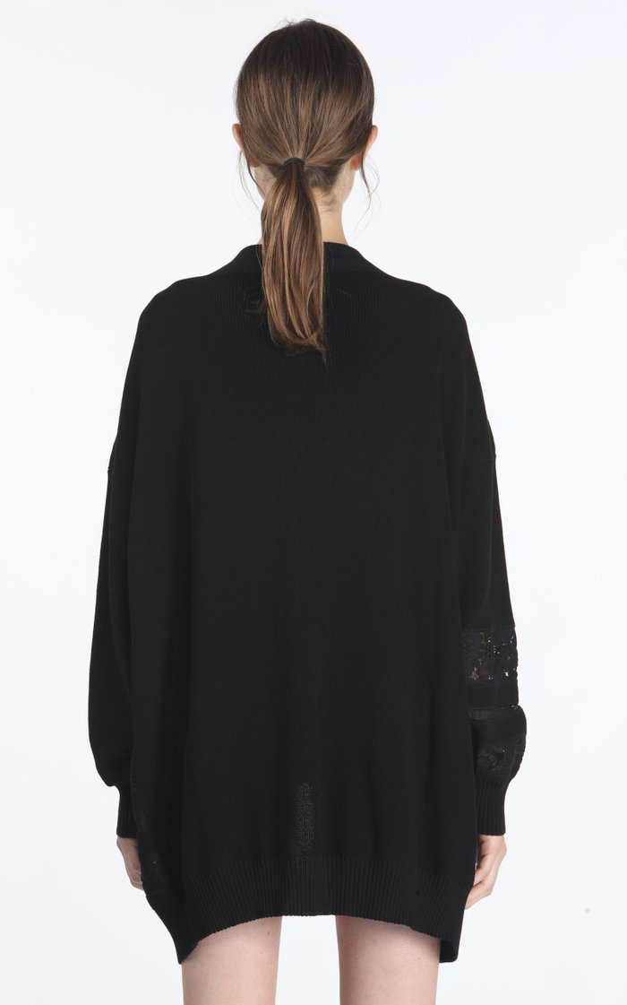 Oversized Lace-Inset Cotton-Blend Cardigan