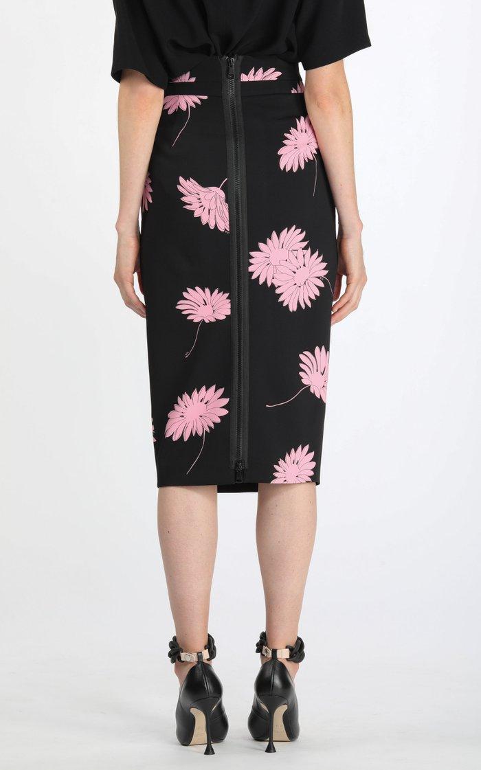 Pleated Floral Crepe High-Rise Midi Skirt