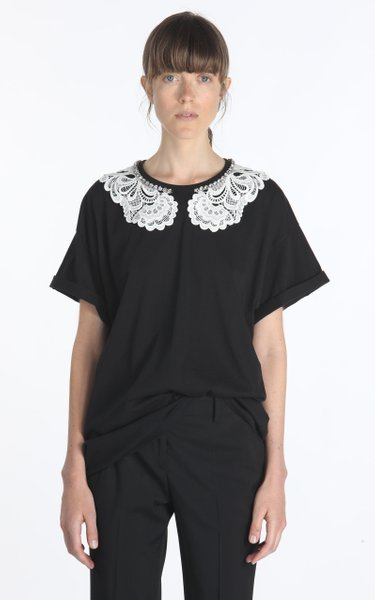 Oversized Lace And Chain-Detailed Cotton-Blend T-Shirt