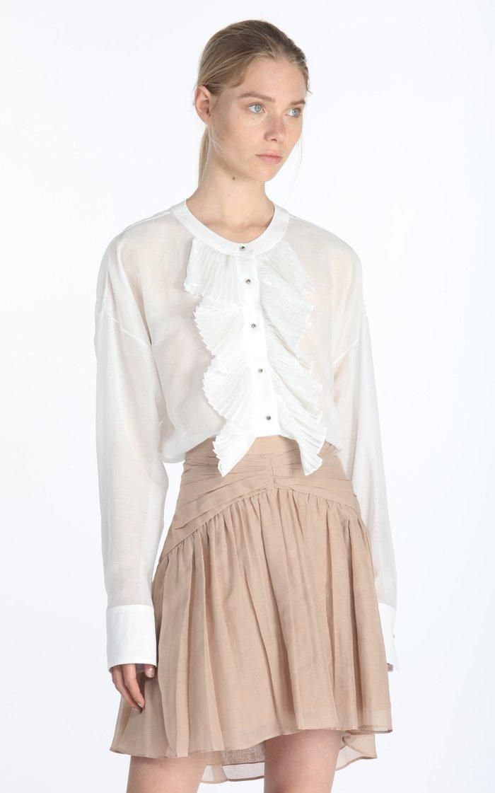 Oversized Pleat-Trimmed Cotton-Silk Shirt