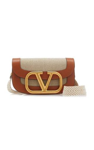 Valentino Garavani Supervee Leather And Linen Shoulder Bag