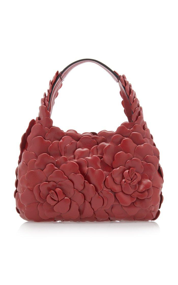 Valentino Garavani Atelier Rose 03 Edition Appliquéd Leather Hobo Bag