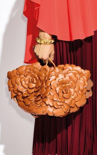 Valentino Garavani Atelier Rose Oversized Flower Petal Leather Bucket Tote