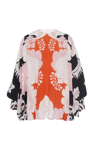 Floral Draped Silk Blouse
