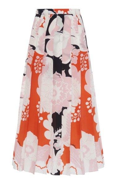 Pleated Printed Silk Midi Skirt