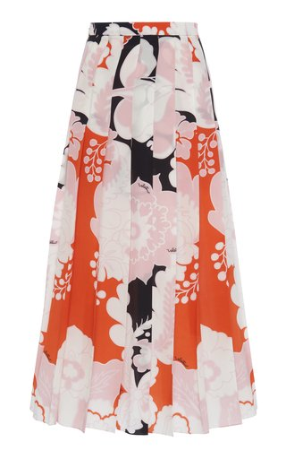 Pleated Printed Silk Midi Skirt