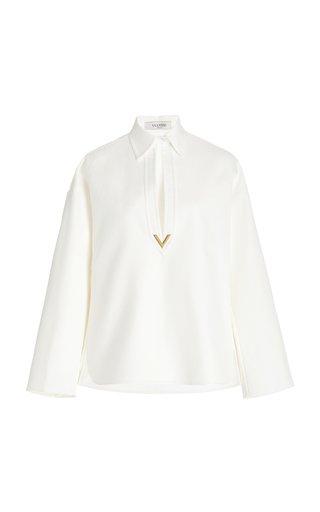 Logo-Detailed Cotton-Gabardine Top