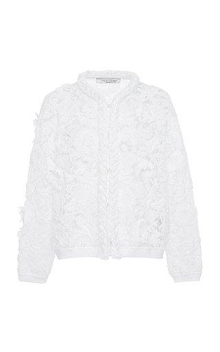 Floral-Appliqued Cotton Lace Jacket